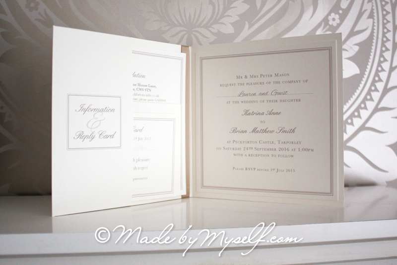 Haigh Hall Pocketfold Wedding Invitation   Includes RSVP U0026 Guest Information